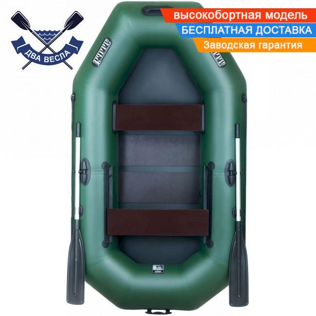 Надувная лодка Ладья ЛТ-240-ЕСБ с брызгоотбойником, слань-ковриком и сдвижным сиденьем двухместная, баллоны 37
