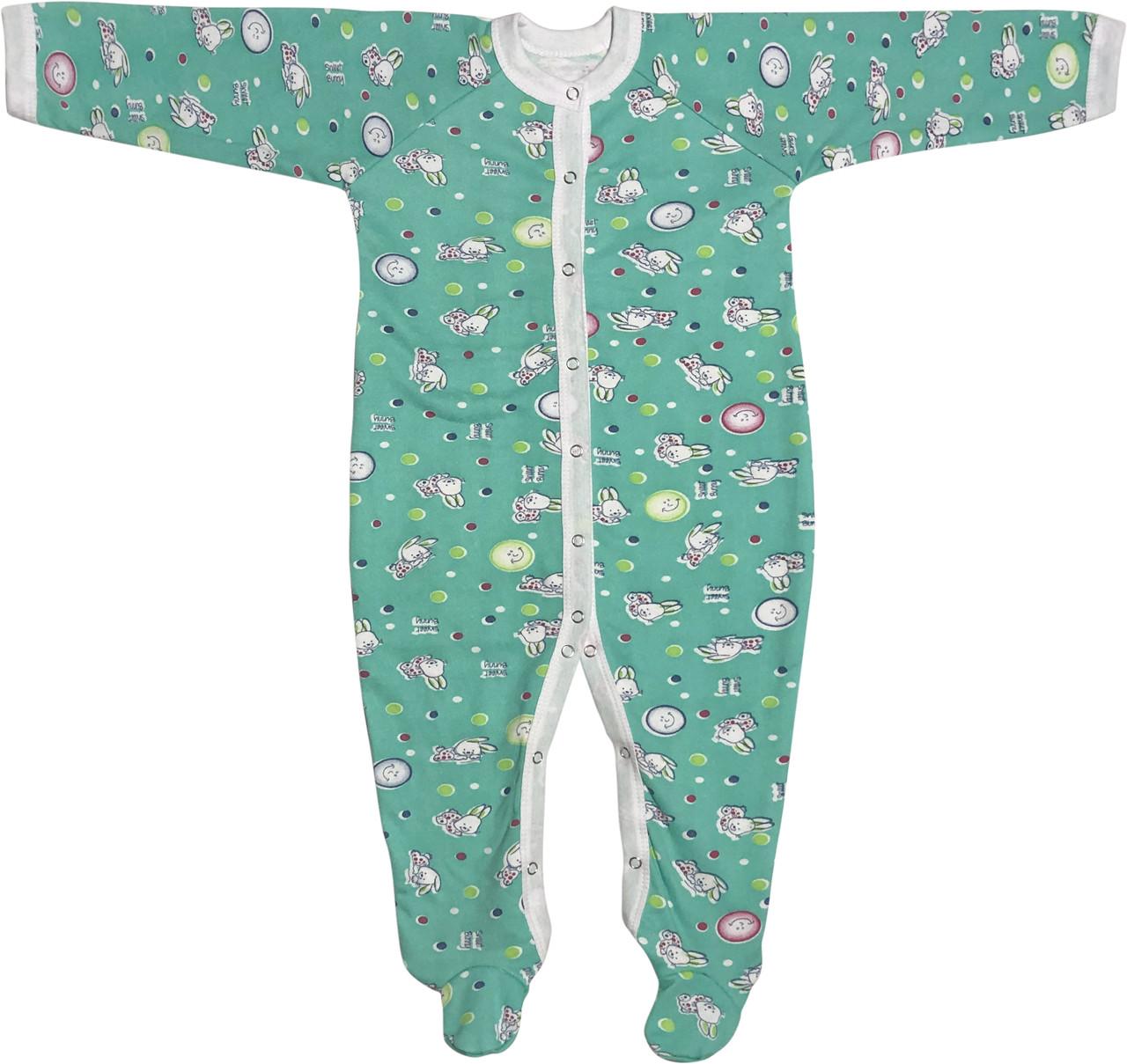 Тёплый человечек слип с начёсом для новорожденных рост 86 1-1,5 года на мальчика девочку хлопковый зелёный