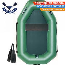 Надувная лодка Ладья ЛТ-190Е со сдвижным сиденьем и гребками одноместная, ПВХ 850
