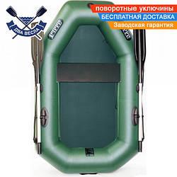 Надувная лодка Ладья ЛТ-190УЕ со сдвижным сиденьем и веслами одноместная, ПВХ 850