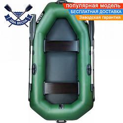 Надувная лодка Ладья ЛТ-220Д двухместная полуторка, ПВХ 850, поворотные уключины