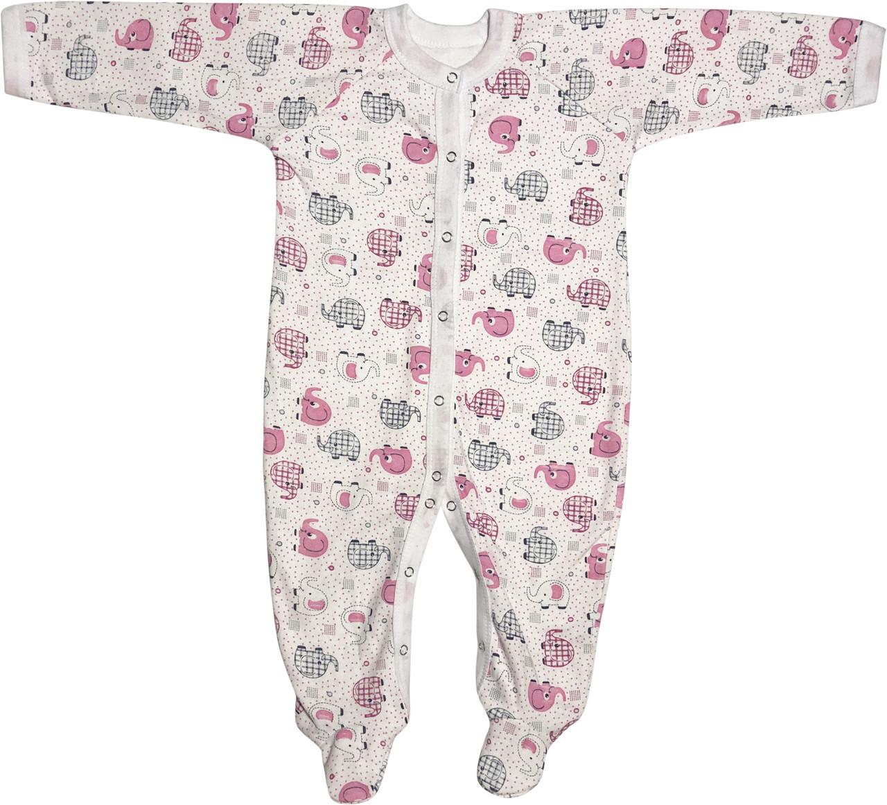 Тёплый человечек слип с начёсом на девочку рост 86 1-1,5 года для новорожденных хлопковый футер розовый