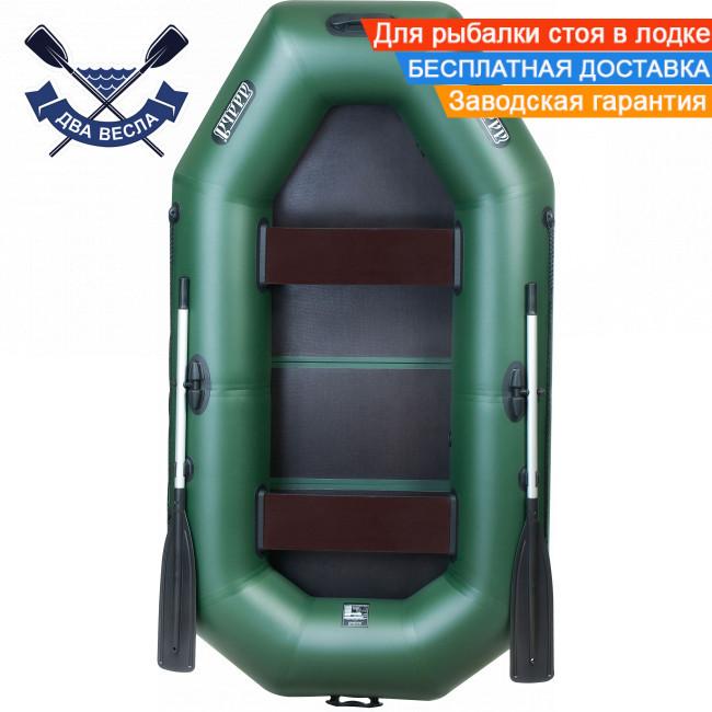 Човен надувний човен ЛТ-240БВ з жорстким дном слань-книжка і брызгоотбойником двомісна, балони 37