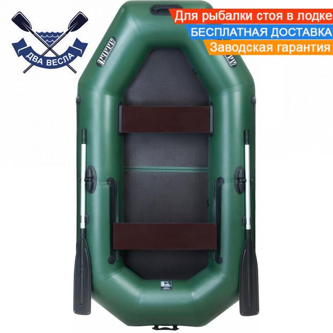 Надувная лодка Ладья ЛТ-240ЕВ с жестким дном слань-книжка двухместная, сдвижн. сиденье, баллоны 37