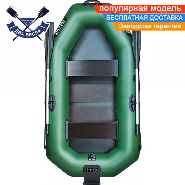 Надувная лодка Ладья ЛТ-220-ДСТ с реечным настилом и ТРАНЦЕМ полуторка двухместная ПВХ 850