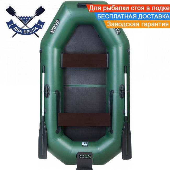 Надувная лодка Ладья ЛТ-240ЕВТ с жестким дном слань-книжка и ТРАНЦЕМ сдвижн. сиденье, баллоны 37