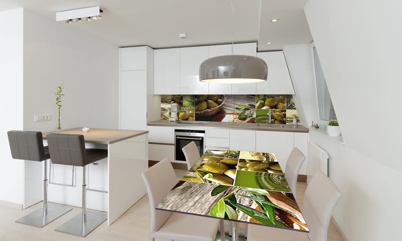 Наклейка 3Д виниловая на стол Zatarga «Зеленые Оливки» 600х1200 мм для домов, квартир, столов, кофейн,