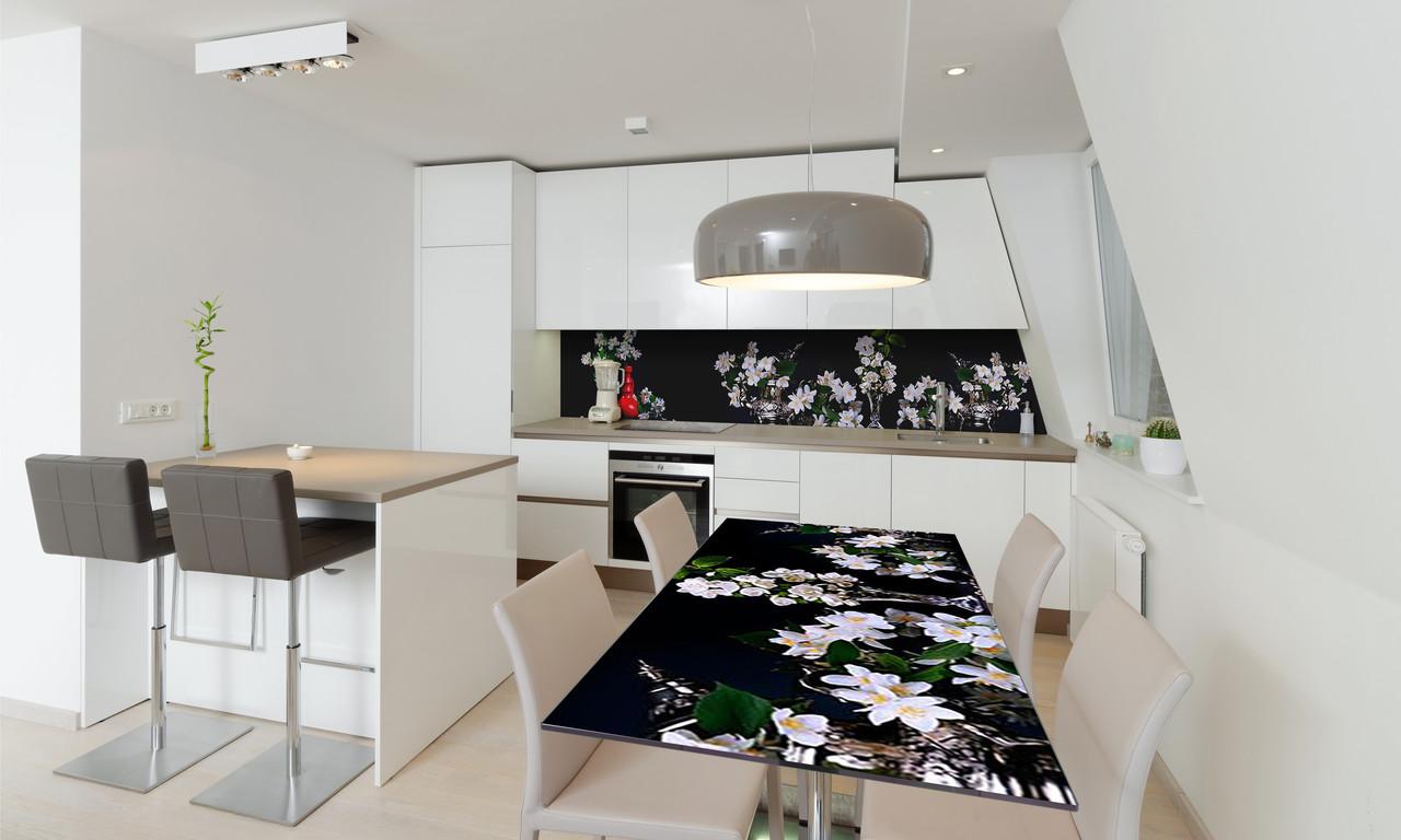 Наклейка 3Д виниловая на стол Zatarga «Пышные букеты» 600х1200 мм для домов, квартир, столов, кофейн,