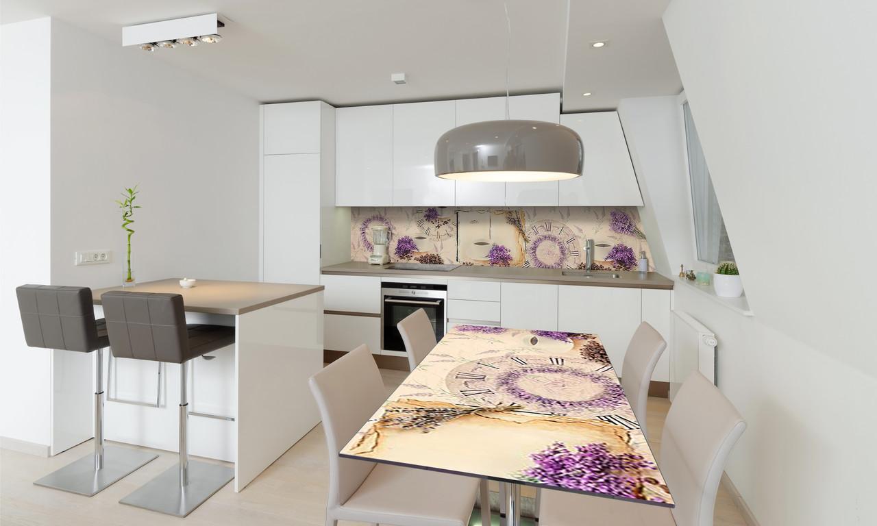 Наклейка 3Д виниловая на стол Zatarga «Лавандовое Кофе» 650х1200 мм для домов, квартир, столов, кофейн,