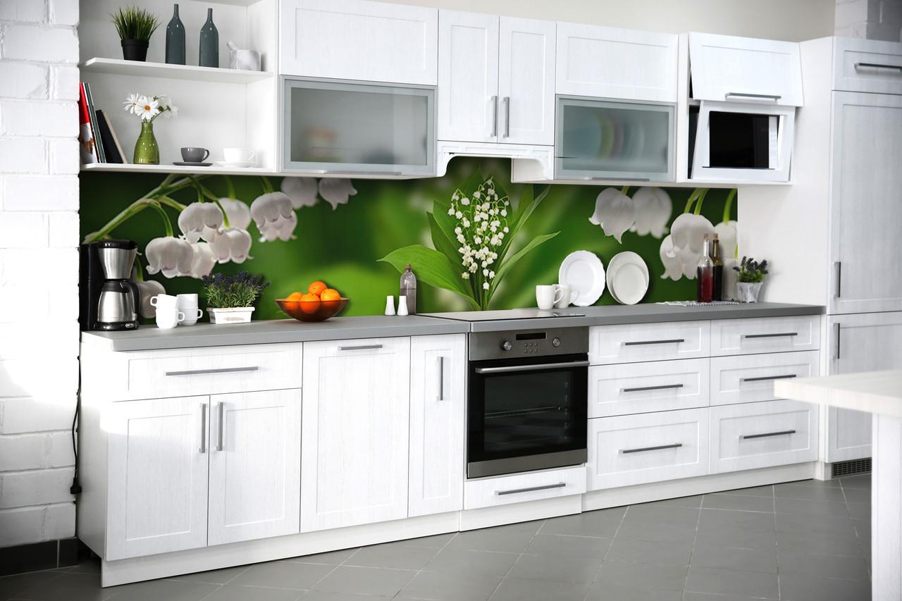 Скинали на кухню Zatarga «Ландыши» 600х2500 мм виниловая 3Д наклейка кухонный фартук самоклеящаяся