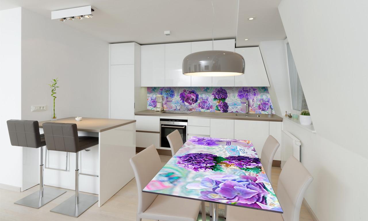 Наклейка 3Д виниловая на стол Zatarga «Фиалки» 600х1200 мм для домов, квартир, столов, кофейн, кафе