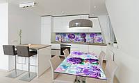Наклейка 3Д виниловая на стол Zatarga «Фиалки» 650х1200 мм для домов, квартир, столов, кофейн, кафе, фото 1