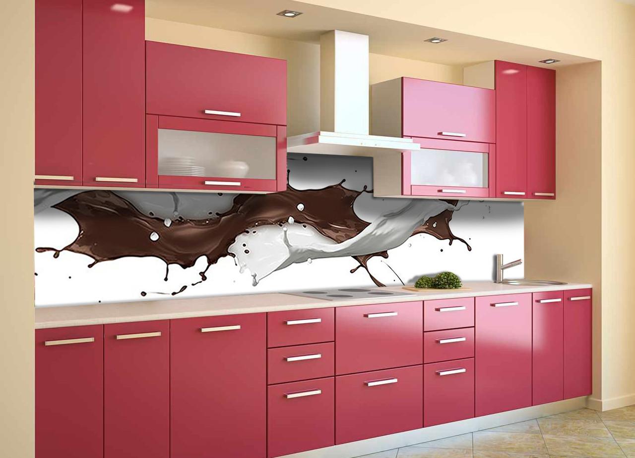 Скинали на кухню Zatarga «Кофейные брызги» 600х2500 мм виниловая 3Д наклейка кухонный фартук самоклеящаяся для