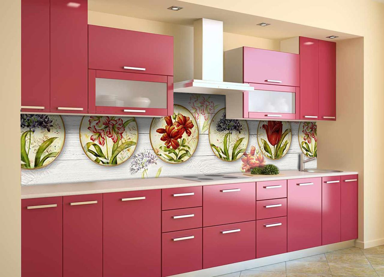Скинали на кухню Zatarga «Цветочные Тарелки» 600х2500 мм виниловая 3Д наклейка кухонный фартук самоклеящаяся