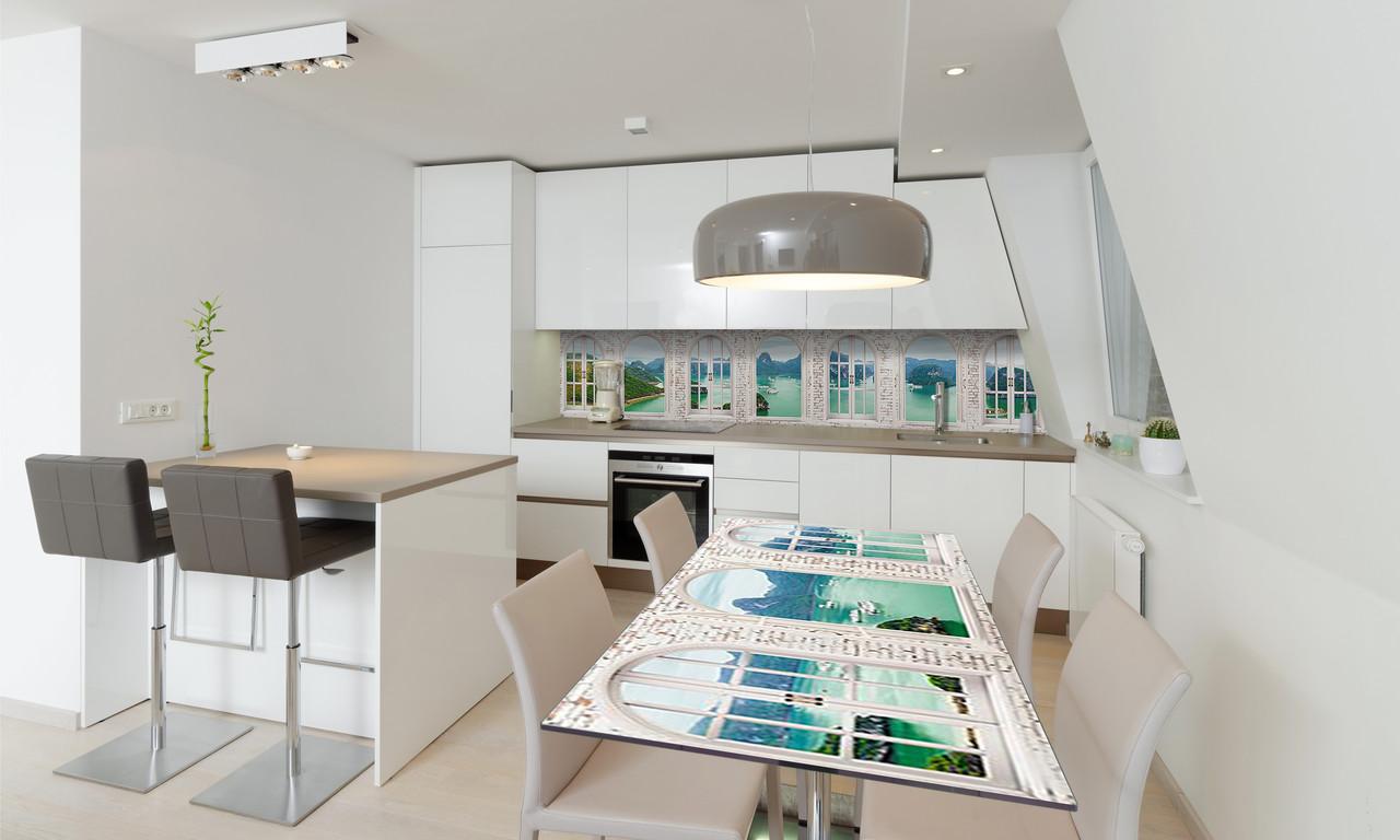 Наклейка 3Д виниловая на стол Zatarga «Окно в Средиземье» 650х1200 мм для домов, квартир, столов,