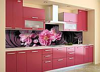 Скинали на кухню Zatarga «Китайская Роза» 600х2500 мм виниловая 3Д наклейка кухонный фартук самоклеящаяся