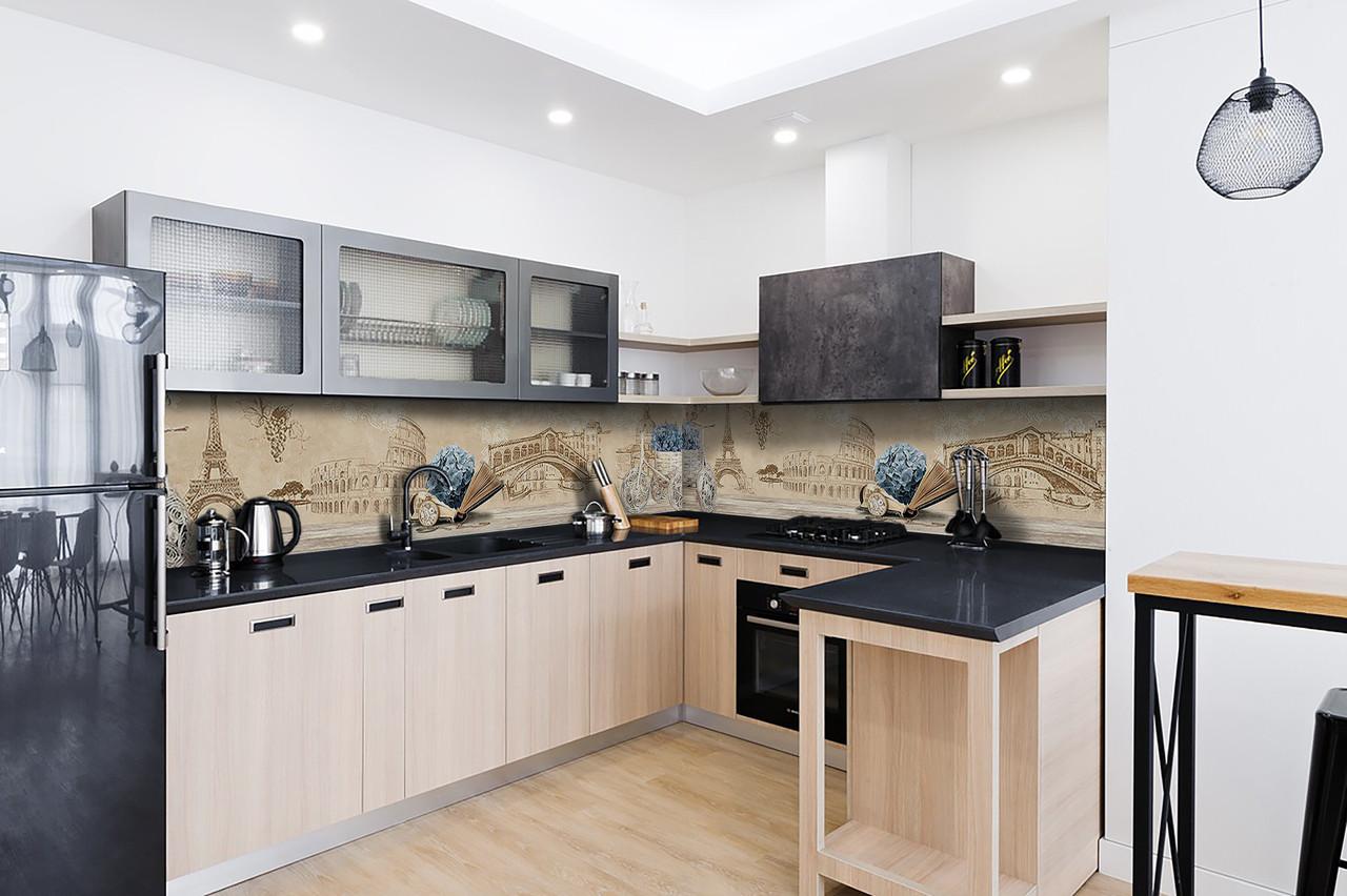 Скинали на кухню Zatarga «Винтажная архитектура» 600х2500 мм виниловая 3Д наклейка кухонный фартук