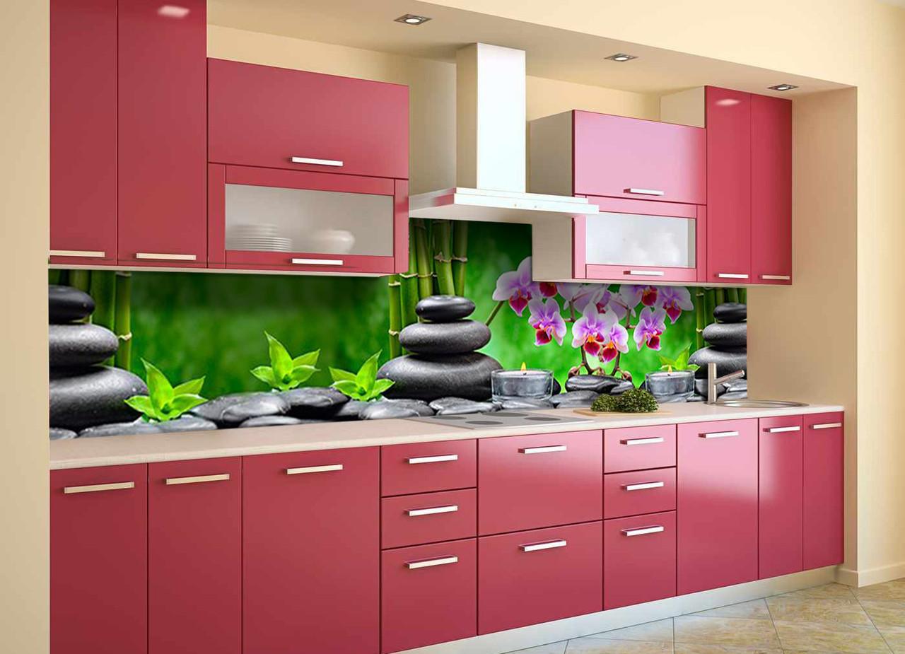 Скинали на кухню Zatarga «Тайский Релакс» 600х3000 мм виниловая 3Д наклейка кухонный фартук самоклеящаяся