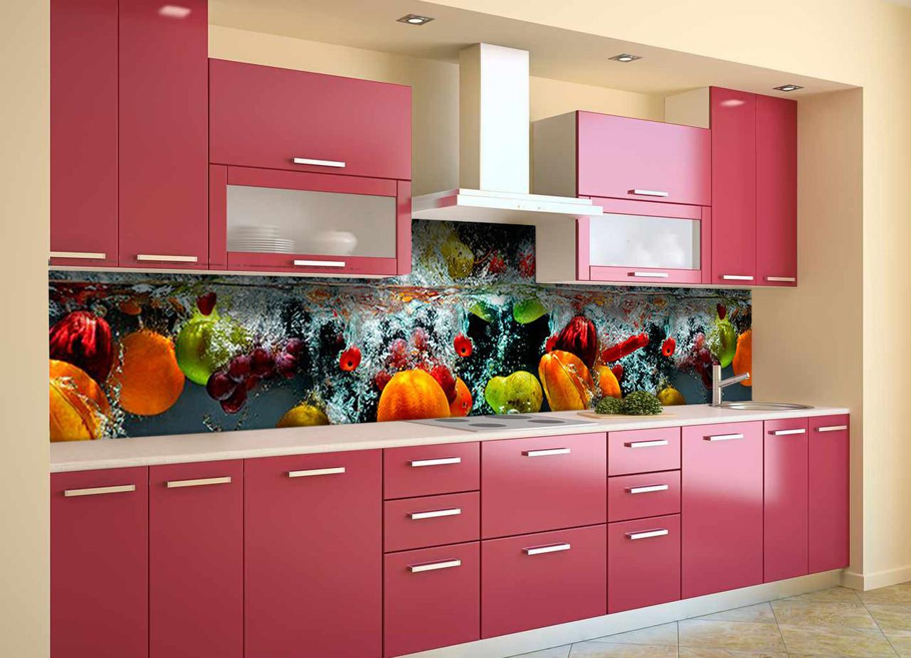 Скинали на кухню Zatarga «Овощи в воде» 600х2500 мм виниловая 3Д наклейка кухонный фартук самоклеящаяся