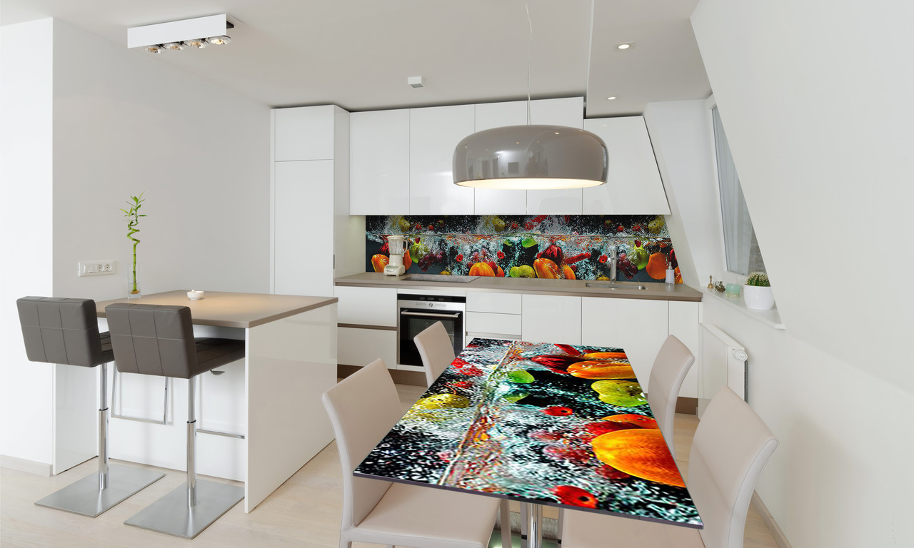 Наклейка 3Д виниловая на стол Zatarga «Овощи в воде» 650х1200 мм для домов, квартир, столов, кофейн,