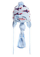 Детский комплект: вязаная шапочка на меху с бумбоном и шарфик, Польша. голубой