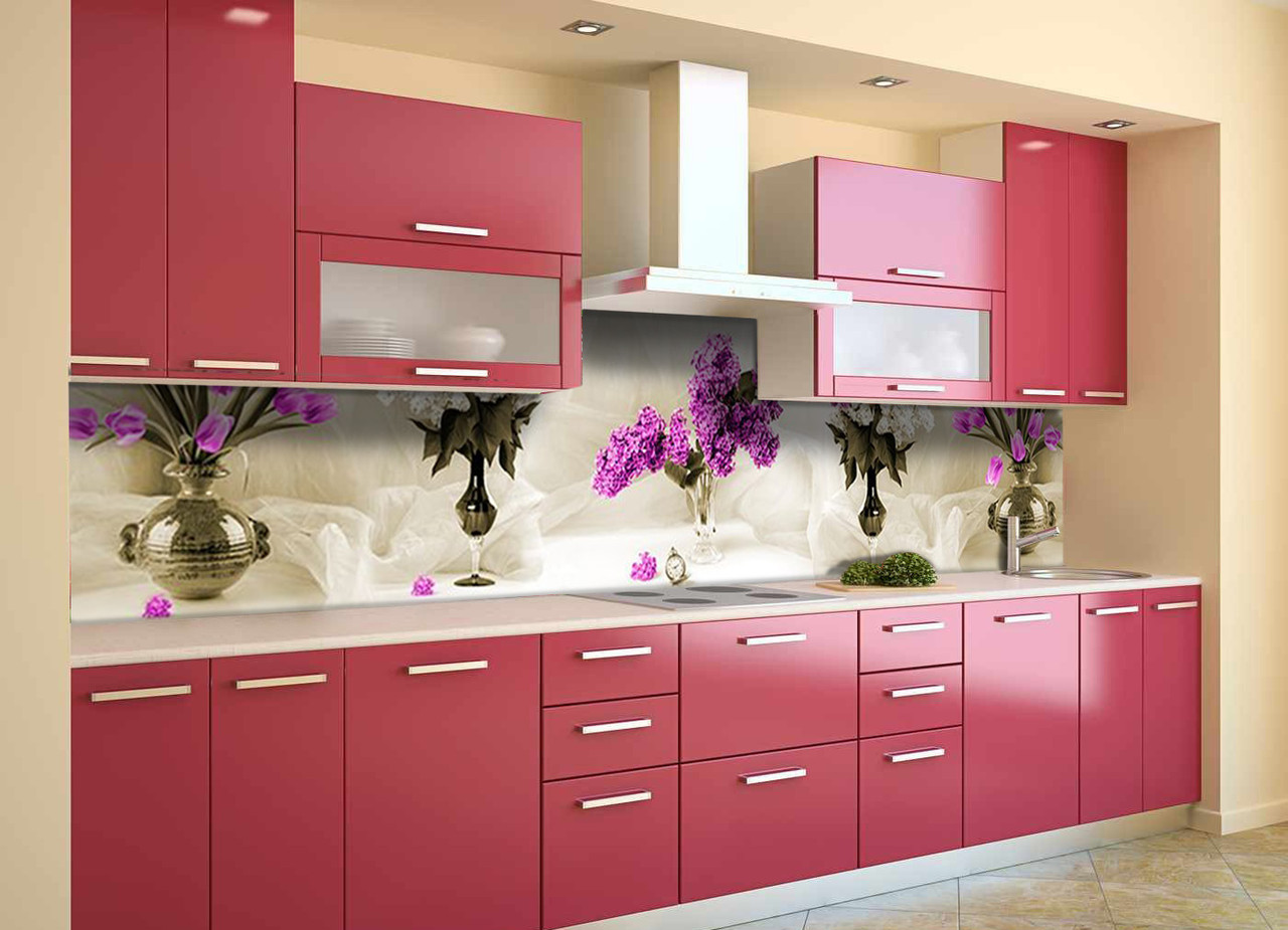 Скинали на кухню Zatarga «Тюльпаны и Сирень» 650х2500 мм виниловая 3Д наклейка кухонный фартук самоклеящаяся