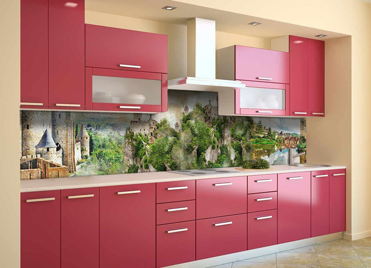 Скинали на кухню Zatarga «Замок у реки» 600х2500 мм виниловая 3Д наклейка кухонный фартук самоклеящаяся