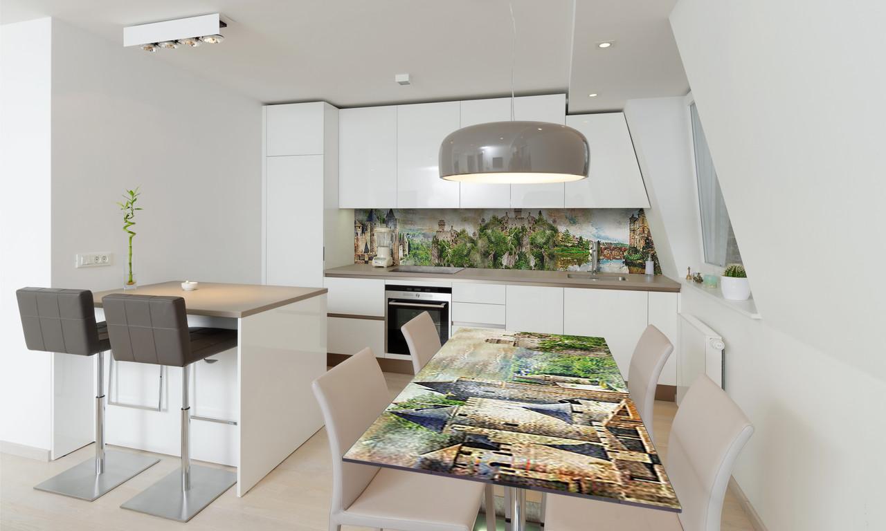 Наклейка 3Д виниловая на стол Zatarga «Замок у реки» 600х1200 мм для домов, квартир, столов, кофейн,
