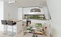 Наклейка 3Д виниловая на стол Zatarga «Замок у реки» 600х1200 мм для домов, квартир, столов, кофейн,, фото 1