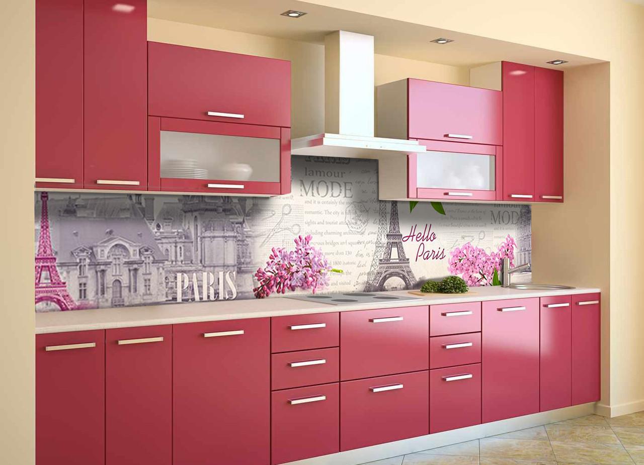 Скинали на кухню Zatarga «Весна в Париже» 600х3000 мм виниловая 3Д наклейка кухонный фартук самоклеящаяся