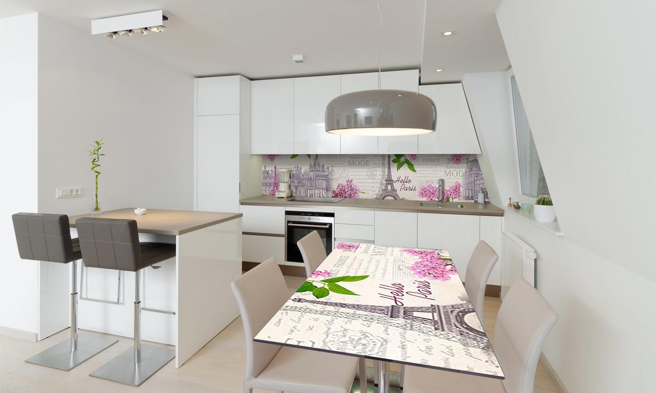 Наклейка 3Д виниловая на стол Zatarga «Весна в Париже» 600х1200 мм для домов, квартир, столов, кофейн,