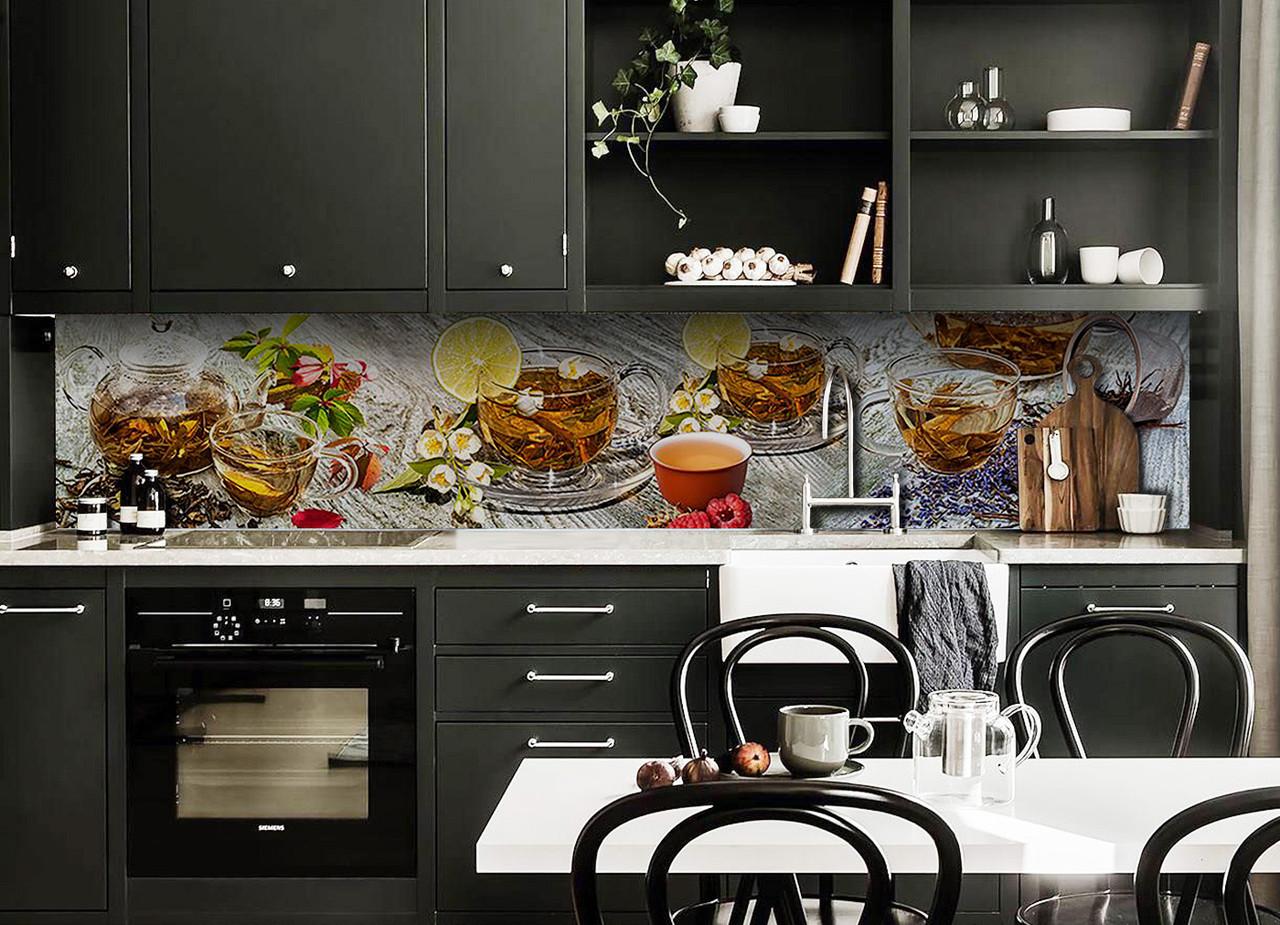 Скинали на кухню Zatarga «Чайный Аромат» 600х2500 мм виниловая 3Д наклейка кухонный фартук самоклеящаяся