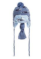 Детский комплект: вязаная шапочка на меху с бумбоном и шарфик, Польша. серо-голубой