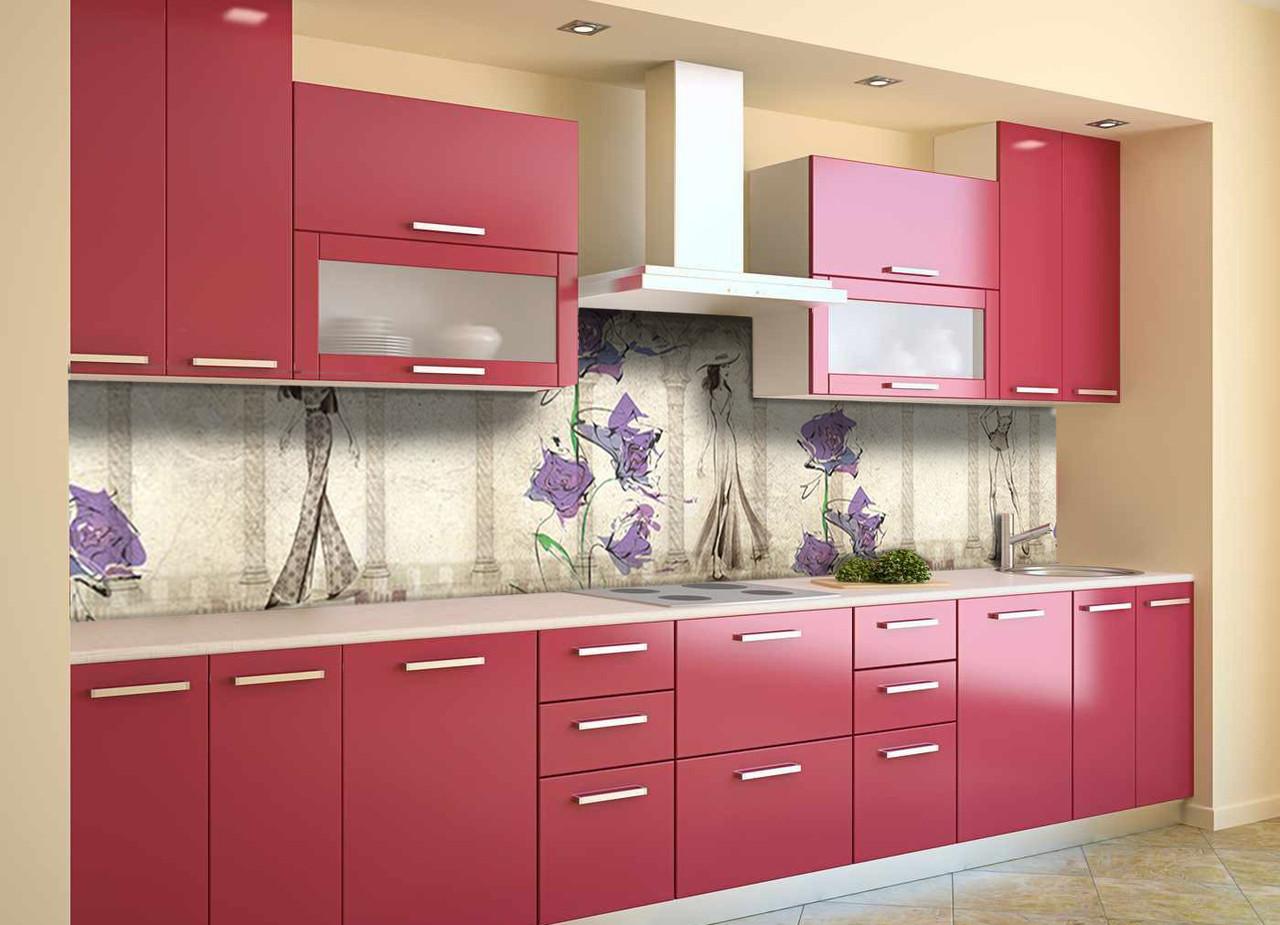 Скинали на кухню Zatarga «Акварельная Дива» 650х2500 мм виниловая 3Д наклейка кухонный фартук самоклеящаяся