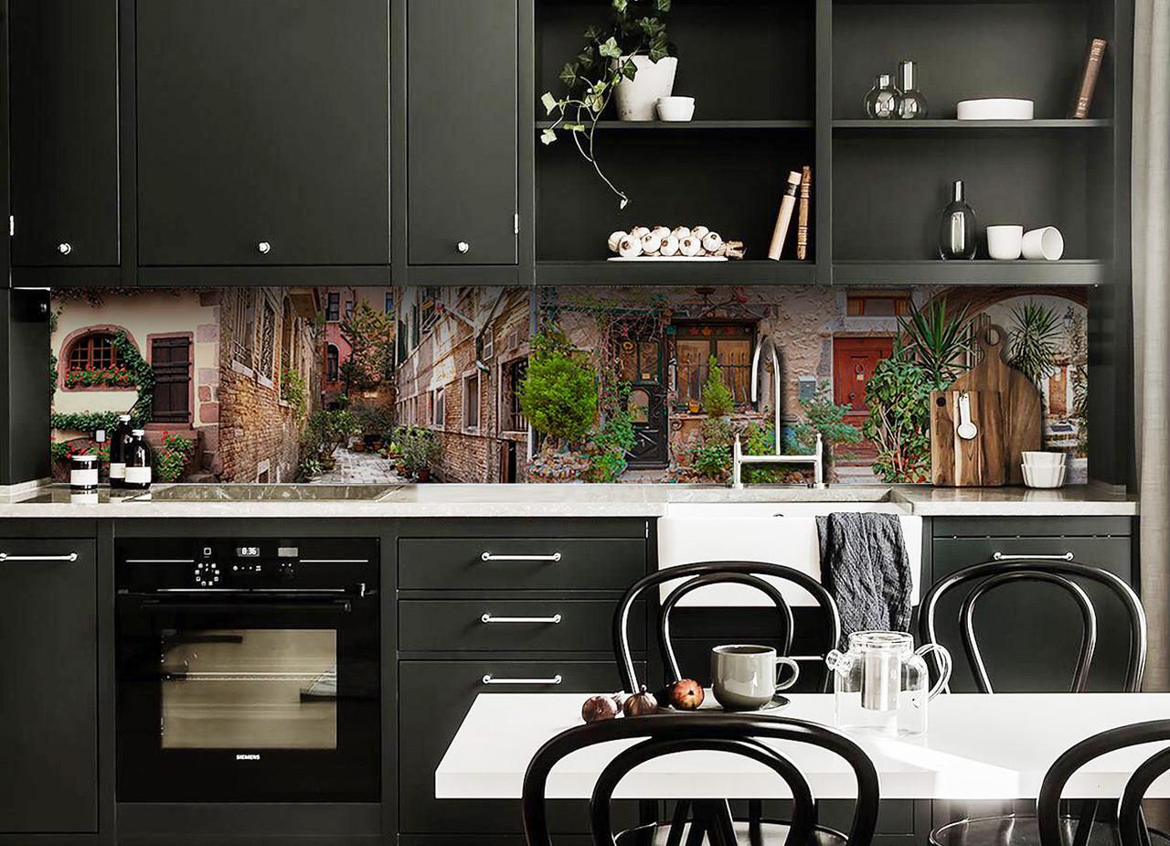 Скинали на кухню Zatarga «Кирпичные Улицы» 600х3000 мм виниловая 3Д наклейка кухонный фартук самоклеящаяся