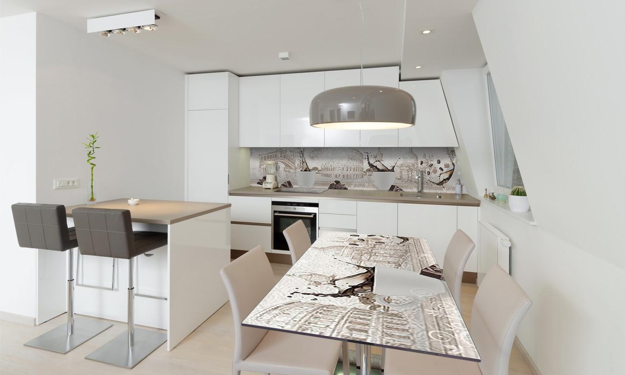 Наклейка 3Д виниловая на стол Zatarga «Итальянский кофе» 650х1200 мм для домов, квартир, столов,