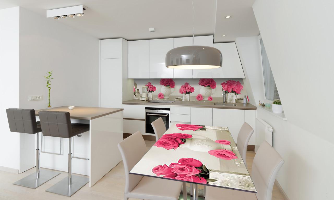 Наклейка 3Д виниловая на стол Zatarga «Букет розовых Роз» 650х1200 мм для домов, квартир, столов,