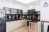 Скинали на кухню Zatarga «Девушка в красном» 650х2500 мм виниловая 3Д наклейка кухонный фартук самоклеящаяся, фото 1