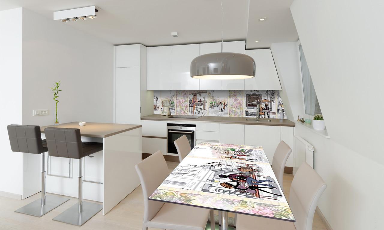 Наклейка 3Д виниловая на стол Zatarga «Кафе в Париже» 650х1200 мм для домов, квартир, столов, кофейн,