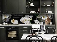 Скинали на кухню Zatarga «Белые Каллы» 600х2500 мм виниловая 3Д наклейка кухонный фартук самоклеящаяся, фото 1