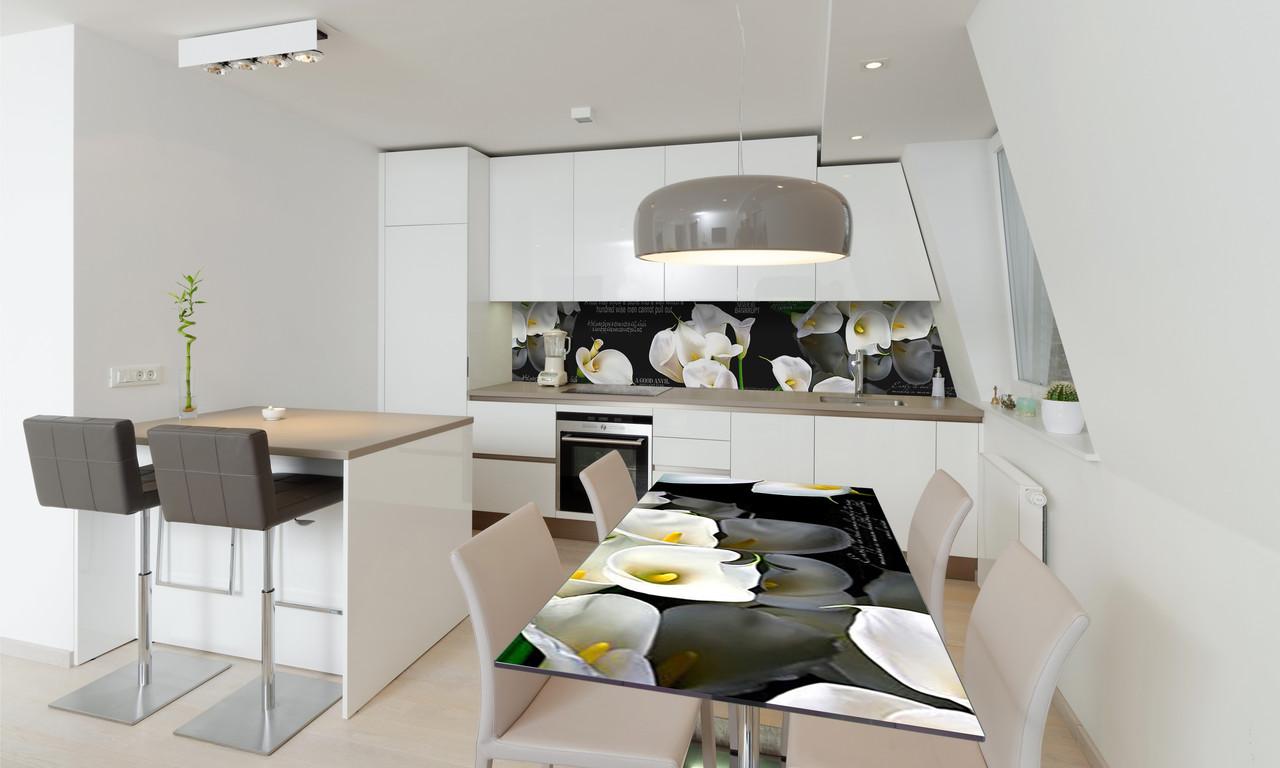 Наклейка 3Д виниловая на стол Zatarga «Белые Каллы» 650х1200 мм для домов, квартир, столов, кофейн,