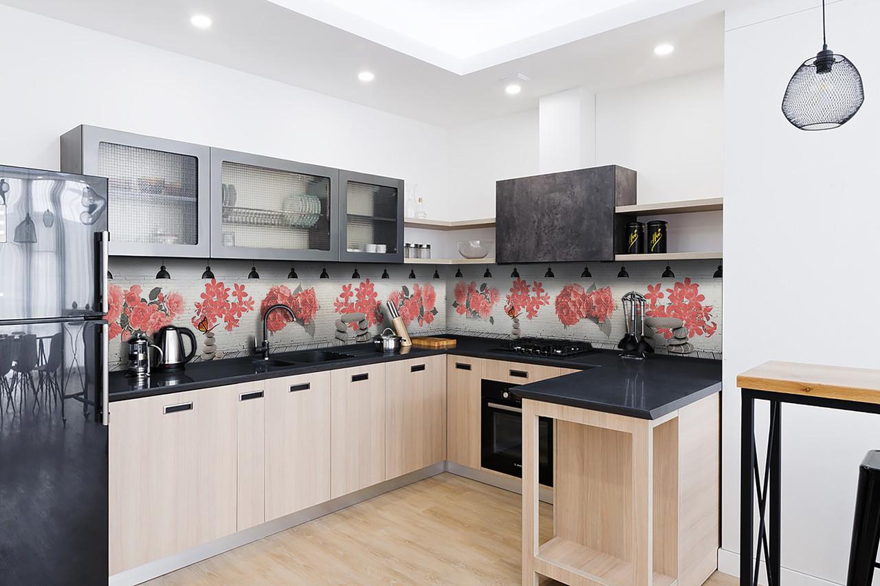 Скинали на кухню Zatarga «Красные цветы» 600х3000 мм виниловая 3Д наклейка кухонный фартук самоклеящаяся
