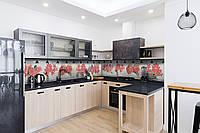 Скинали на кухню Zatarga «Красные цветы» 600х3000 мм виниловая 3Д наклейка кухонный фартук самоклеящаяся, фото 1