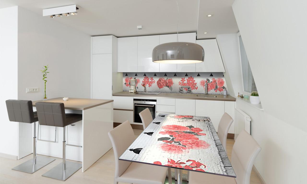 Наклейка 3Д виниловая на стол Zatarga «Красные цветы» 650х1200 мм для домов, квартир, столов, кофейн,