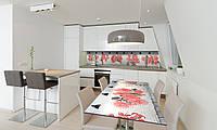 Наклейка 3Д виниловая на стол Zatarga «Красные цветы» 650х1200 мм для домов, квартир, столов, кофейн,, фото 1