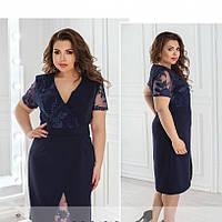 Нарядное синее платье с вставкой из сетки с вышивкой №358, размер 52,56,58