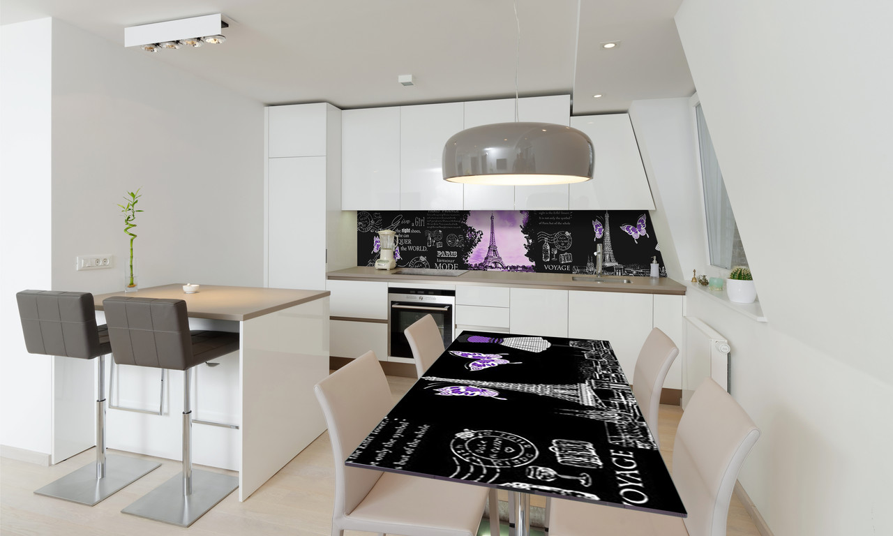 Наклейка 3Д виниловая на стол Zatarga «Символы Парижа» 650х1200 мм для домов, квартир, столов, кофейн,
