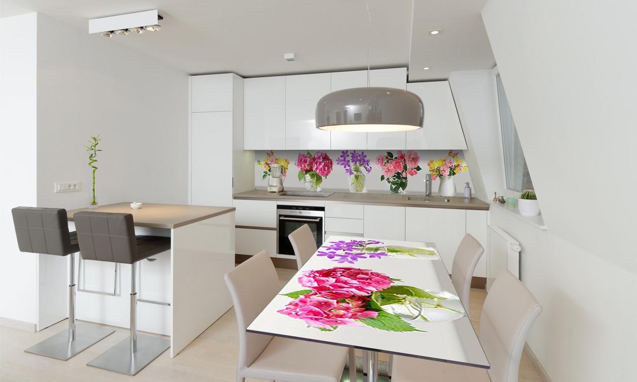 Наклейка 3Д виниловая на стол Zatarga «Яркие Цветы» 650х1200 мм для домов, квартир, столов, кофейн,
