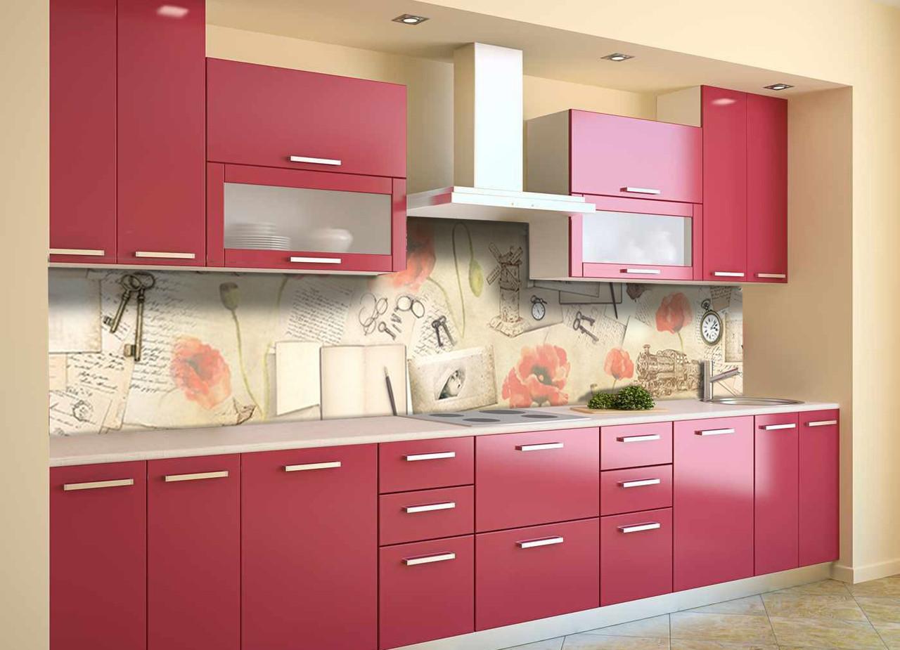 Скинали на кухню Zatarga «Акварельные Маки» 600х2500 мм виниловая 3Д наклейка кухонный фартук самоклеящаяся