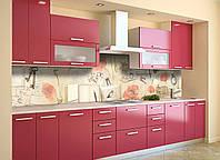 Скинали на кухню Zatarga «Акварельные Маки» 600х2500 мм виниловая 3Д наклейка кухонный фартук самоклеящаяся, фото 1